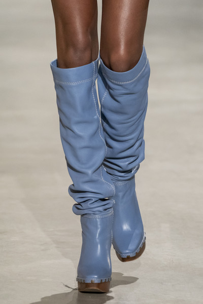 Jacquemus at Paris Fall 2019 (Details) [footwear,human leg,leg,fashion,shoe,blue,calf,boot,joint,ankle,shoe,ballet flat,dress,fashion,boot,boots,fashion boot,hoodie,jacquemus,paris fashion week,shoe,boot,fashion,winter,autumn,ballet flat,thigh-high boots,dress,fashion boot,hoodie]