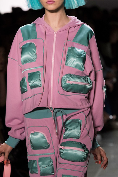 Jeremy Scott at New York Fall 2018 (Details) [fashion,pink,fashion show,clothing,fashion model,runway,jacket,magenta,outerwear,turquoise,socialite,jeremy scott,fashion,runway,model,haute couture,pink,fashion model,new york fashion week,fashion show,runway,fashion show,haute couture,fashion,model,socialite]