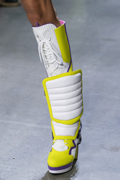 Jeremy Scott at New York Spring 2019 (Details) [footwear,yellow,shoe,fashion,boot,human leg,leg,joint,knee,personal protective equipment,sneakers,shoe,yellow,fashion,spring,booties,heel,d\u00e9colletage,product design,new york fashion week,sneakers,fashion,shoe,sandal,booties,heel,spring,d\u00e9colletage,yellow,product design]