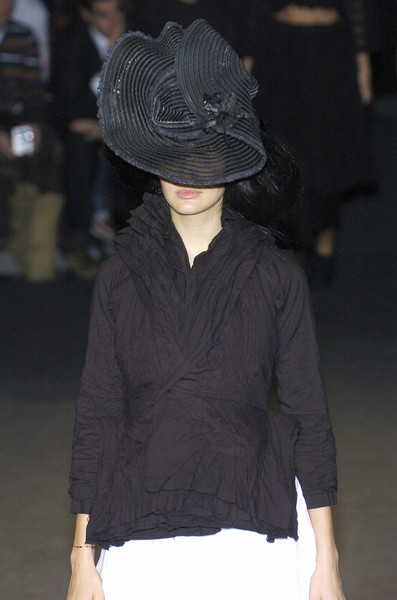 Junya Watanabe at Paris Spring 2005 [clothing,fashion,shoulder,joint,hat,neck,headgear,outerwear,fashion show,human body,socialite,junya watanabe,fashion,haute couture,model,runway,clothing,headgear,paris fashion week,fashion show,fashion show,runway,fedora,fashion,haute couture,model,socialite]