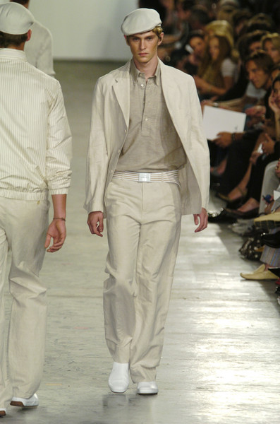 Lacoste at New York Spring 2005 [fashion,runway,fashion model,fashion show,white,clothing,beige,outerwear,event,fashion design,human,fashion,runway,model,haute couture,white,clothing,lacoste,new york fashion week,fashion show,fashion show,runway,fashion,haute couture,model,fedora,tuxedo m.,human,tuxedo]