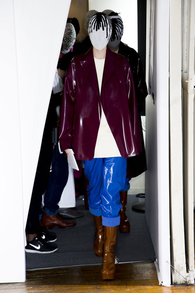 Maison Martin Margiela at Couture Fall 2013 (Backstage) [clothing,fashion,purple,outerwear,pink,footwear,leg,jacket,knee,human leg,outerwear,couture fall,fashion,purple,clothing,jacket,knee,human leg,leg,fashion,purple,maison martin margiela]