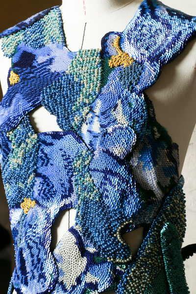 Maison Martin Margiela at Couture Fall 2014 (Backstage) [blue,cobalt blue,clothing,electric blue,woven fabric,textile,azure,wool,scarf,pattern,maison martin margiela,couture fall,scarf,cobalt blue,blue,clothing,textile,azure,wool,blue,scarf,crochet]