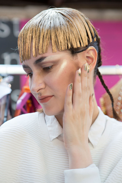 Manish Arora at Paris Fall 2015 (Backstage) [hair,face,hairstyle,nose,forehead,chin,eyebrow,ear,hair coloring,cheek,blond,manish arora,hair,hair coloring,brown hair,color,forehead,eyebrow,ear,paris fashion week,blond,hair coloring,bangs,brown hair,hair,color,brown,beauty.m]