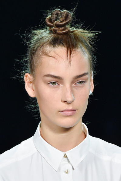 Marc by Marc Jacobs at New York Spring 2015 (Details) [hair,face,hairstyle,fashion,chin,eyebrow,forehead,jaw,lip,blond,blond,fashion,hairstyle,hair,hair,fashion week,beauty,bun,eyebrow,new york fashion week,bun,fashion,long hair,hairstyle,beauty,fashion week,bridget jones,hair,blond]