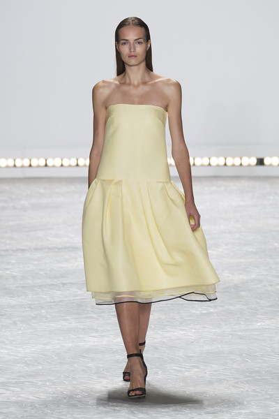 Monique Lhuillier at New York Spring 2015 [fashion model,fashion show,clothing,fashion,dress,runway,shoulder,haute couture,strapless dress,waist,monique lhuillier,fashion,runway,clothing,spring,fashion blog,color,yellow,new york fashion week,fashion show,monique lhuillier,fashion,color,clothing,yellow,fashion blog,fashion show,runway,spring,ready-to-wear]