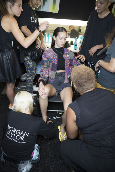 Monique Lhuillier at New York Spring 2015 (Backstage) [leg,fashion,thigh,joint,fun,event,party,t-shirt,t-shirt,monique lhuillier,fashion,leg,thigh,joint,fun,party,new york fashion week,event,fashion,t-shirt,event]