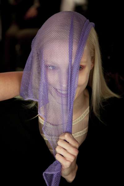 Narciso Rodriguez at New York Spring 2011 (Backstage) [purple,violet,lavender,hand,headgear,long hair,veil,narciso rodriguez,violet,purple,fashion,headgear,hair,hand,veil,lavender,new york fashion week,fashion,purple]