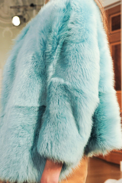 Nicole Farhi at London Fall 2014 (Details) [fur,fur clothing,clothing,blue,turquoise,outerwear,textile,natural material,coat,plush,nicole farhi,fur,textile,turquoise,fur clothing,clothing,snout,material,coat,london fashion week,fur,snout,textile,turquoise]