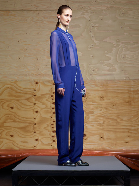 Richard Nicoll at London Fall 2012 [clothing,cobalt blue,electric blue,standing,fashion,shoulder,fashion model,formal wear,outerwear,suit,outerwear,richard nicoll,fashion,cobalt blue,clothing,fashion model,electric blue m,wear,london fashion week,fashion show,fashion,fashion show,electric blue m]