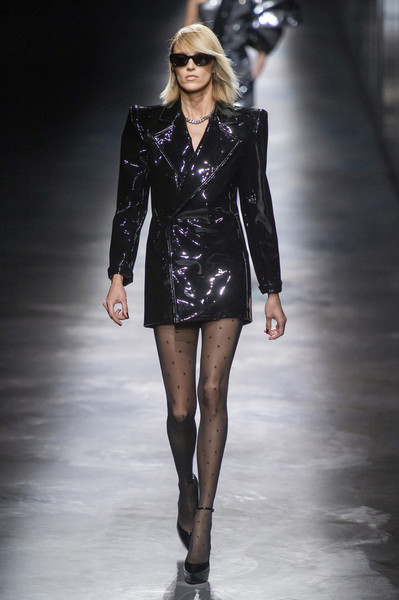 Saint Laurent at Paris Fall 2019 [fashion show,fashion model,fashion,runway,clothing,leather,public event,leg,human,event,anthony vaccarello,fashion,fashion week,runway,fashion model,clothing,leather,saint laurent,paris fashion week,fashion show,anthony vaccarello,yves saint laurent,fashion week,fashion,paris fashion week 2018,ready-to-wear,fashion show,haute couture,runway]
