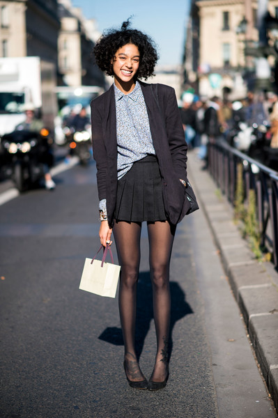 e0fe4fecdf1 Cardigan and Mini Skirt - Ridiculously Chic Street Style at Paris ...