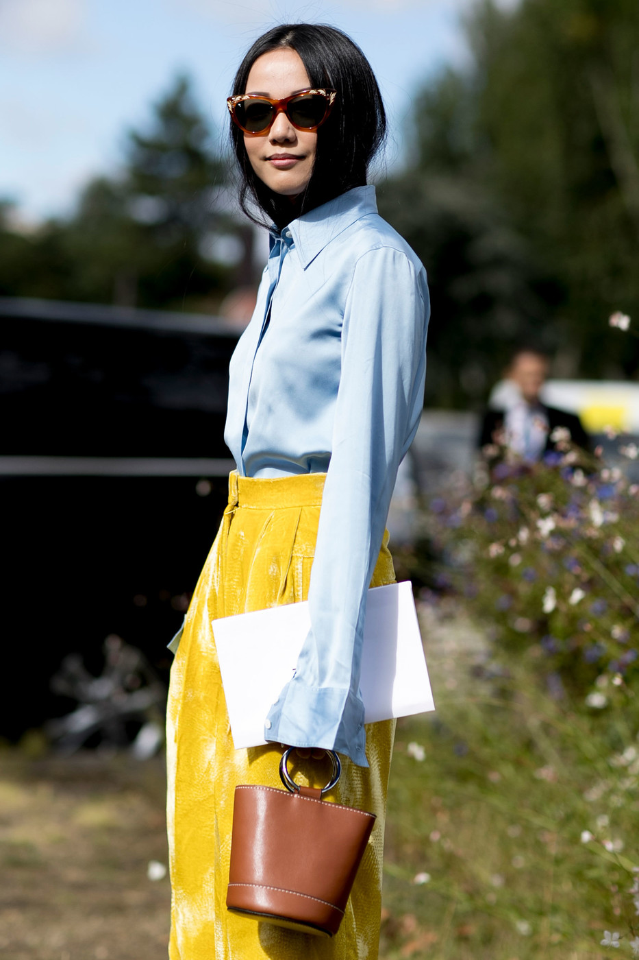Sky Blue And Sunshine Ridiculously Chic Street Style At Paris Fashion Week Livingly