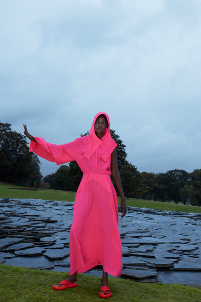 Stella McCartney at Paris Spring 2021 [pink,red,sky,water,magenta,grass,photography,costume,outerwear,dress,stella mccartney,pink,red,water,photography,costume,sky,paris fashion week,outerwear,dress]