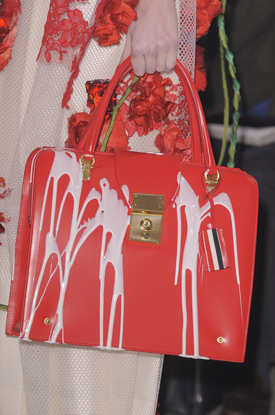 Thom Browne at New York Fall 2013 (Details) [art,red,bag,handbag,fashion,tote bag,fashion accessory,shoulder,material property,coquelicot,hand luggage,handbag,bag,shoe,jeans,thom browne,fashion,birkin bag,red,new york fashion week,handbag,fashion,herm\u00e8s,birkin bag,shoe,jeans,art,thom browne]