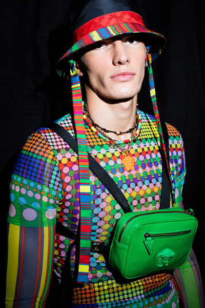 Versace at Milan Spring 2021 (Backstage) [headgear,fashion accessory,hat,hippie,fashion accessory,donatella versace,medusa,hippie,fashion,headgear,archeo,hat,versace,milan fashion week,donatella versace,versace,fashion,medusa,archeo,headgear]