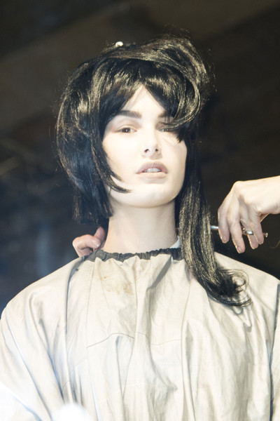 Yohji Yamamoto at Paris Fall 2013 (Backstage) [hair,face,hairstyle,beauty,lip,eyebrow,chin,forehead,black hair,bangs,supermodel,yohji yamamoto,hair,bangs,hair,brown hair,fashion,beauty,lip,paris fashion week,bangs,hair m,layered hair,brown hair,black hair,long hair,fashion,supermodel,hair,beauty.m]
