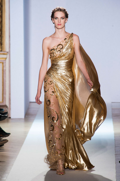 Zuhair Murad at Couture Spring 2013 [couture spring 2013,fashion model,fashion,fashion show,clothing,haute couture,shoulder,dress,runway,beauty,model,dress,gown,evening gown,haute couture,fashion,clothing,dress,fashion model,prom,gown,dress,evening gown,haute couture,gold,clothing,prom,tulle,greek dress,fashion]