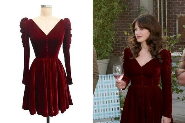c3926bbd5 Zooey Deschanel s Red Velvet Dress with Ruched Sleeves on  New Girl ...