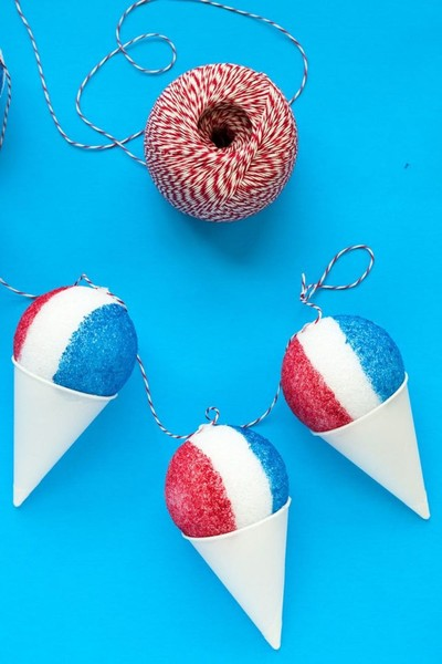 Red, White & Blue Snow Cone Garland