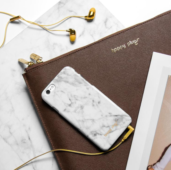 Aquarius: Happy Plugs White Marble Phone Case