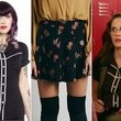 Zooey Deschanel's Black Button-Up Shirt with White Contrast and Pleated Floral Skirt on 'New Girl'