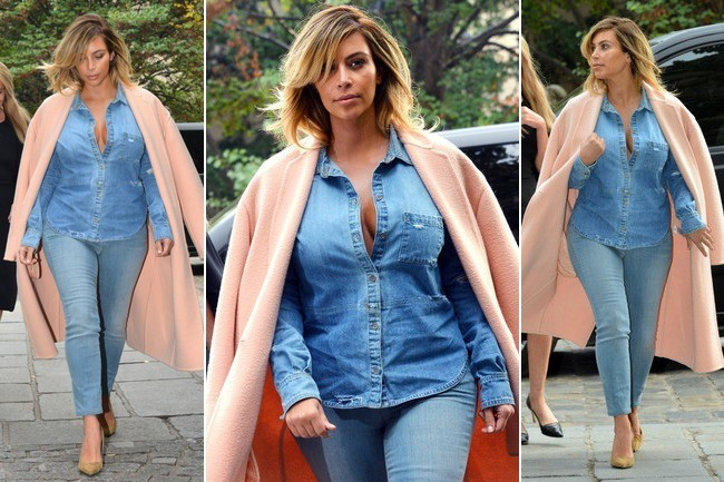 What Do You Think About Kim Kardashian In Double Denim Do Or Disaster Outfit Ideas Livingly