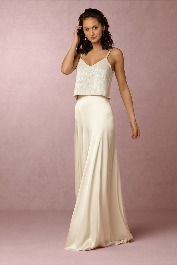 Silk and shimmer modern and elegant two piece wedding for Wedding dress skirt and top