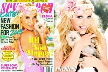 Ke$ha Looks Un-Ke$ha-Like, Holds a Kitten, on the Cover of Seventeen