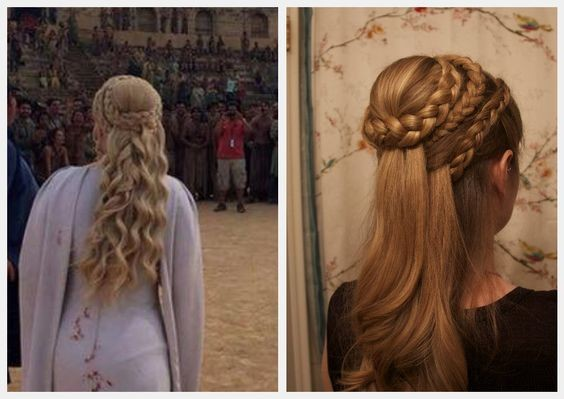 Braided crown hairstyle on the Mother of Dragons.