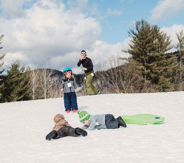 When you send two toddlers down a hill on a sled by themselves