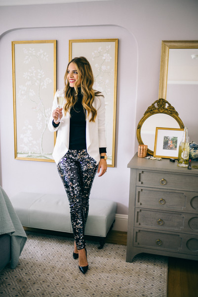 Sequined Pants and a White Blazer