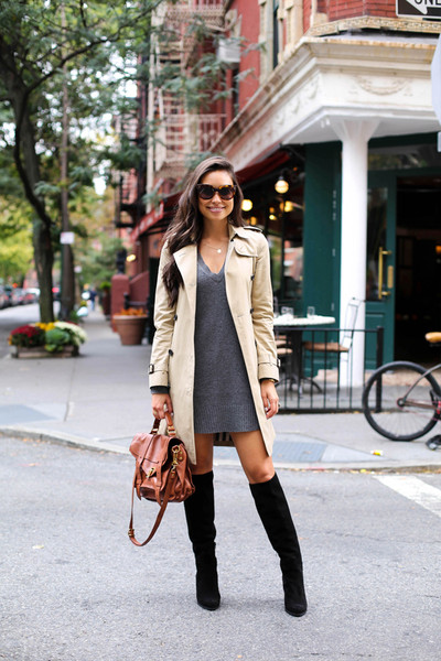 Sweater Dress and Trench , Outfit Ideas for Tall Boots