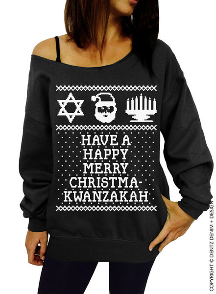 Ugly Christmas Kwanzaa Hanukkah Sweater - The Ultimate Ugly ...