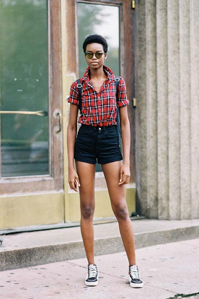 A Short Sleeve Button-Up and High-Waisted Shorts