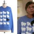 Mindy Kaling's Blue Graphic Sheep Sweatshirt on 'The Mindy Project'