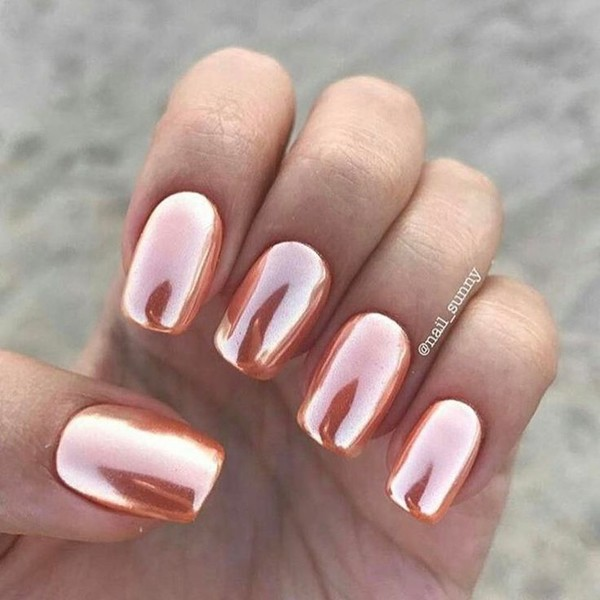 Metallic Rose Gold Nails