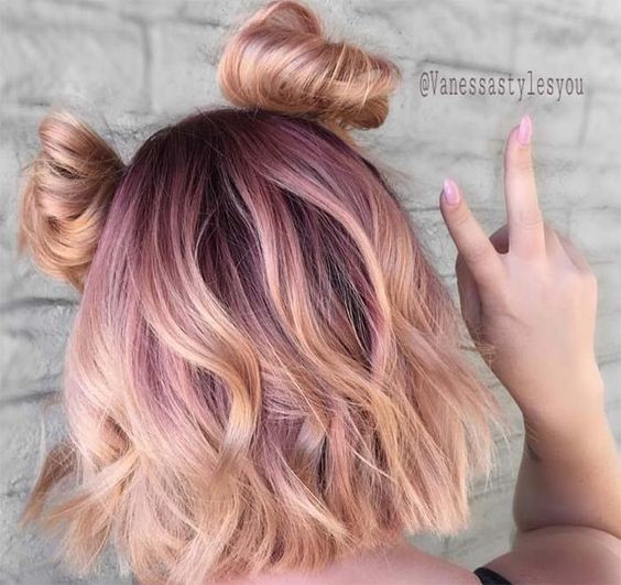 Pale Pink To Gold Mini Buns Rose Gold Hair Ideas That Ll