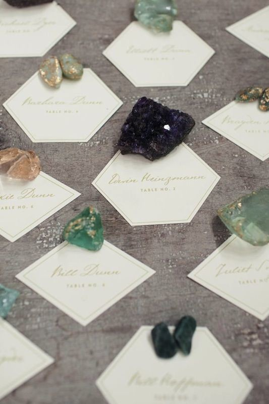 Crystals beautiful and creative wedding place card ideas Unique place card ideas