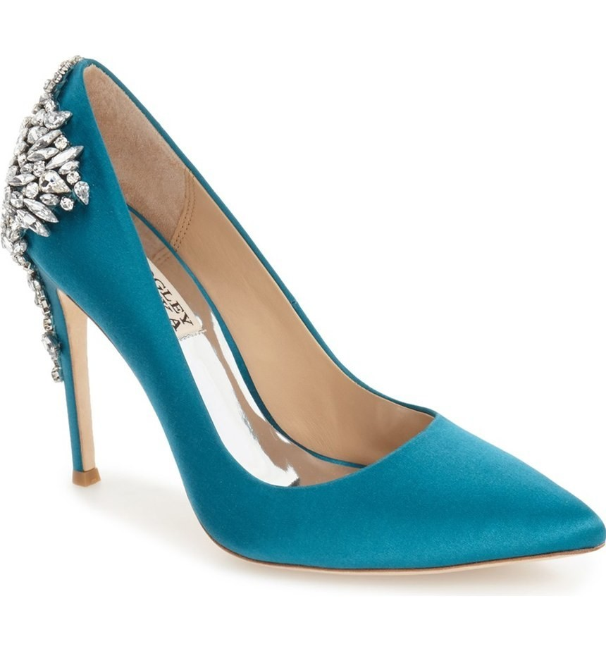 Teal Blue Satin Shoes