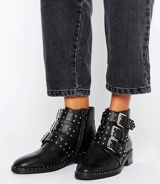 Leather Studded Ankle Boots