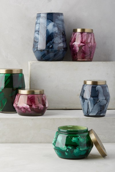 Marbled Glass Candles