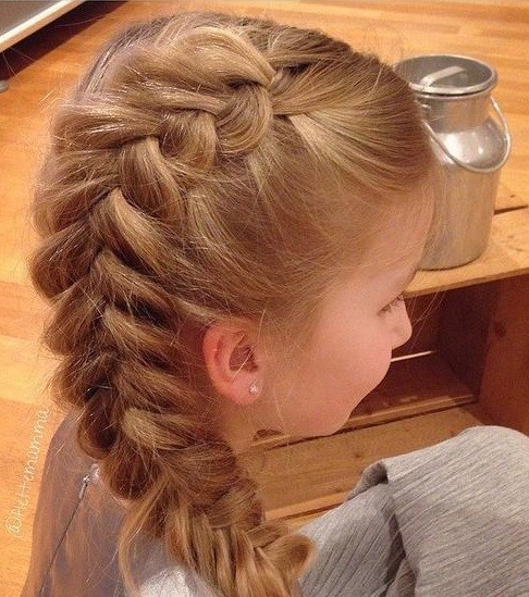 Little Girl's Four-Strand Dutch Braid.