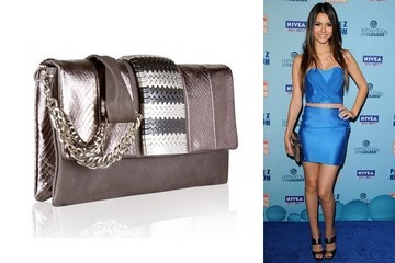 Victoria Justice Gets a Grip on Misela's Metallic Clutch