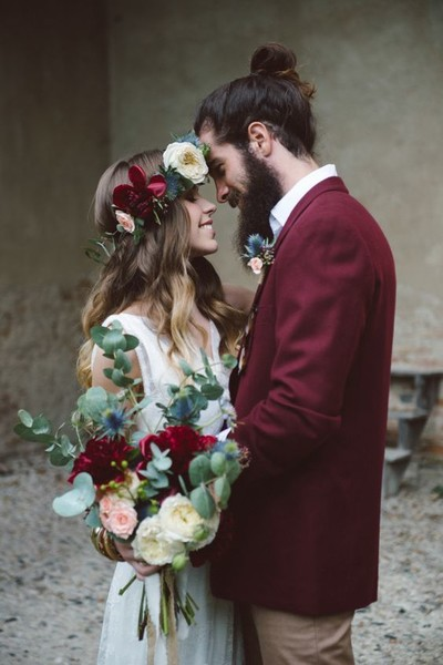 Burgundy Groom