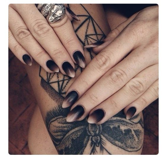 Black + Nude Ombré - Halloween Nails So Cool They'll Give ...