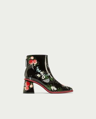 Patent Floral Boots