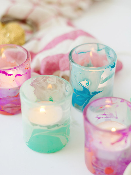 DIY Marbled Votiv Candle Holders