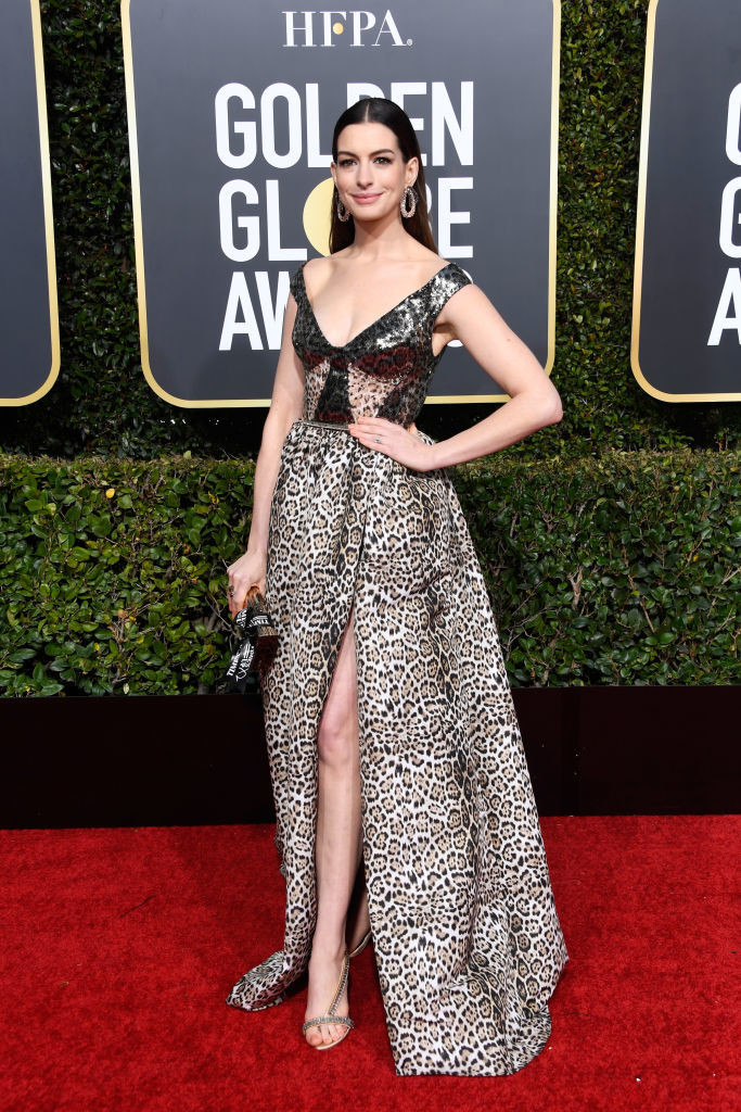 Anne Hathaway In Elie Saab At The 2019 Golden Globes The