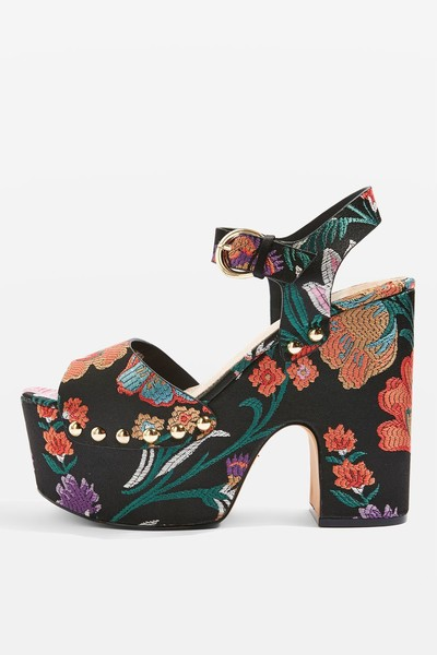 Emproidered Tropical Print Platforms